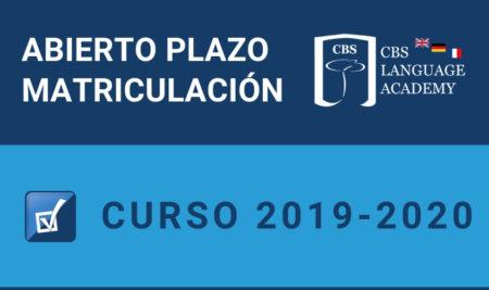 Abierto Plazo Matriculación Curso 2019-2020 en CBS Language Academy
