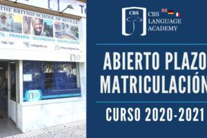 Abierto Plazo Matriculacion CBS Language Academy 2020-2021