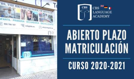Abierto Plazo Matriculación Curso 2020-2021 en CBS Language Academy