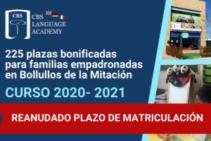 REANUDADO PLAZO DE MATRICULACIÓN EN CBS LANGUAGE ACADEMY BOLLULLOS
