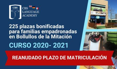 Reanudado el plazo de matriculación y bonificación económica en CBS Language Academy Bollullos